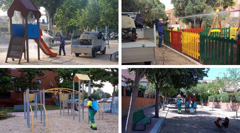 Los servicios municipales están trabajando en los parques infantiles, preparándolos para su apertura