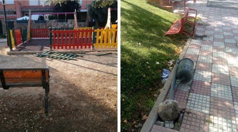 Actos vandálicos contra el mobiliario urbano