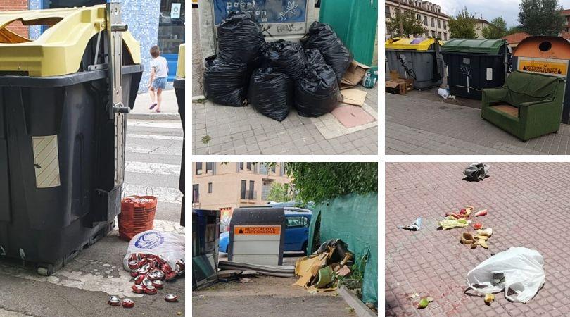 Las bolsas de basura, dentro de los contenedores