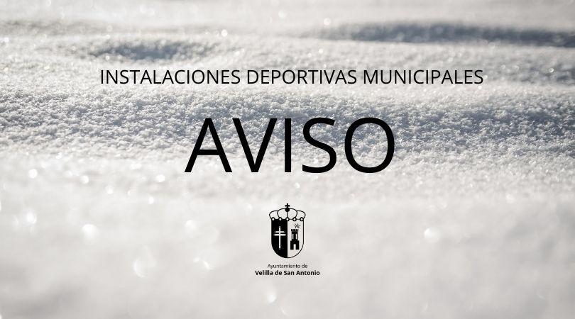 Cierre de las instalaciones deportivas municipales durante todo el fin de semana