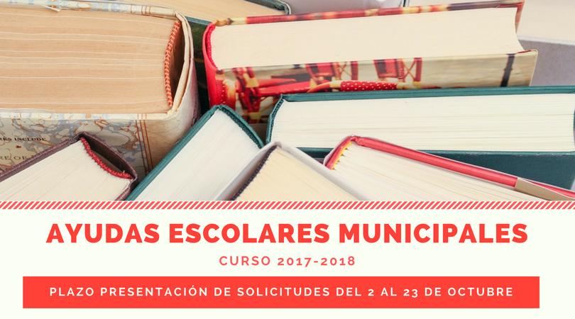 El 2 de octubre comienza el plazo de presentación de las solicitudes para las ayudas escolares municipales curso 2017-2018