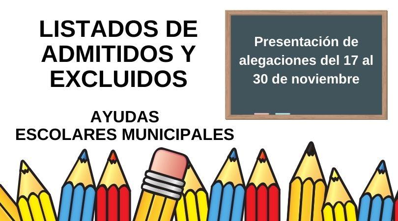 Publicados los listados de admitidos y excluidos de las Ayudas Escolares Municipales