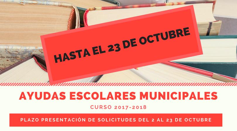 AVISO Plazo solicitudes Ayudas Escolares Municipales