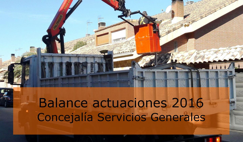 La Concejalía de Servicios Generales hace balance de las actuaciones llevadas a cabo en el 2016