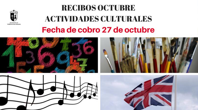Aviso sobre el cobro de los recibos de las actividades culturales del mes de octubre