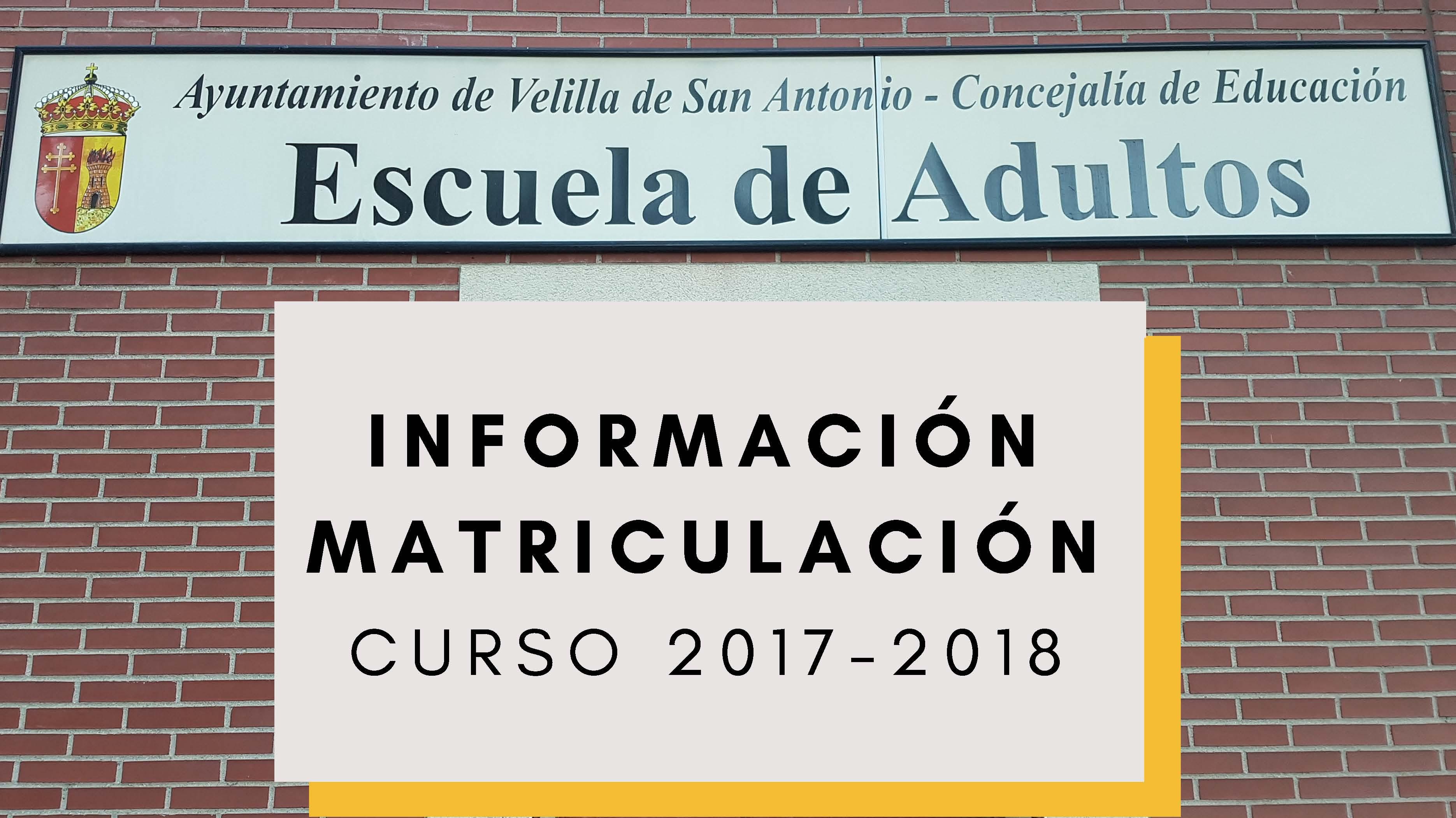 Enseñanzas para adultos en Velilla. Matriculación curso 2017-2018