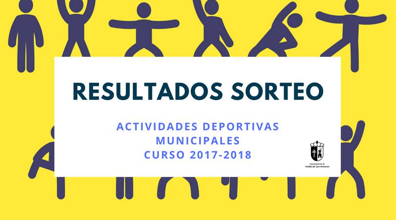 Resultados del sorteo actividades deportivas 2017-2018