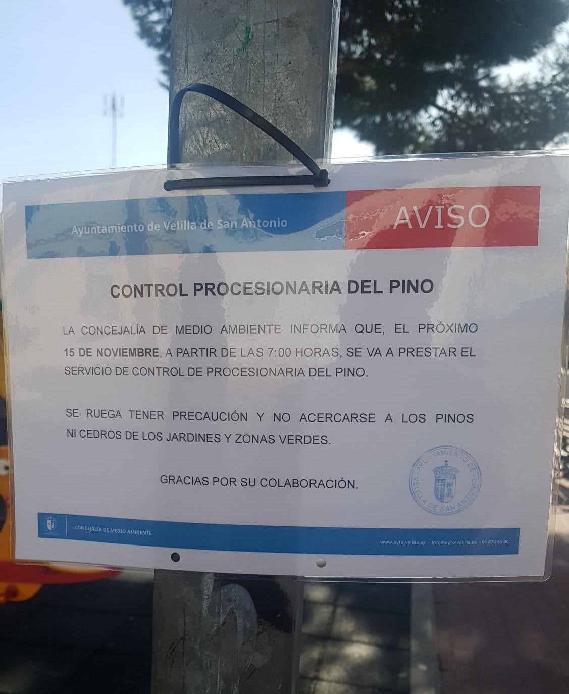 Programa de Control de la Procesionaria del Pino en Velilla